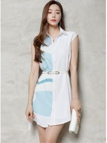 Korea Wholesale Color Block Shirt Collar A-line Dress