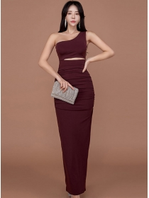 Sexy Wholesale Off Shoulder Hollow Out Pleated Long Dress