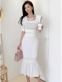 Preppy Fashion Square Collar Puff Sleeve Fishtail Dress Set
