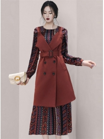 Double-breasted Long Vest with Flowers Long Sleeve Dress