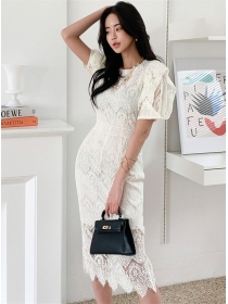 Korea Stylish Round Neck Puff Sleeve Lace Slim Dress