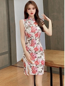 Summer New Lace Split Flowers Skinny Tank Dress