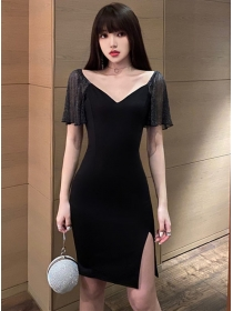 Korea Summer V-neck Gauze Sleeve Bodycon Dress