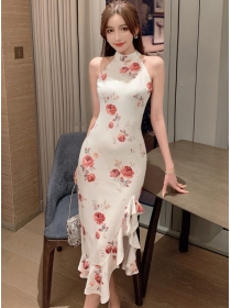 Pretty Fashion Off Shoulder Fishtail Flowers Slim Dress