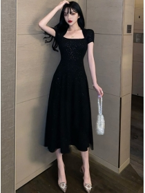 Wholesale Summer High Waist Shining A-line Dress