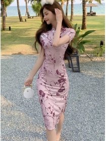Charming Korea Flowers Split Slim Cheongsam Dress