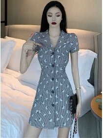Classic Wholesale Single-breasted Plaids Slim Women Dress
