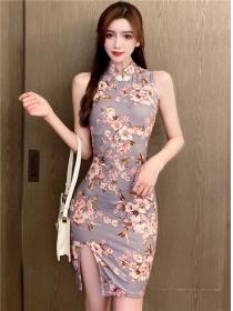 Wholesale Retro Flowers Slim Cheongsam Tank Dress