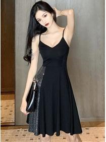 Hot Selling V-neck Sequins Flouncing Straps A-line Dress
