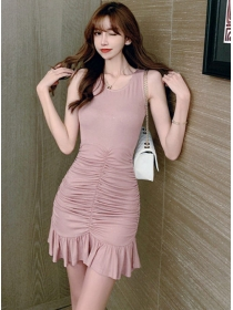 Hot Selling Round Neck Pleated Fishtail Tank Dresss