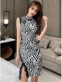 Korea Stylish Lace Split Zebra Stripes Cheongsam Dress