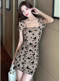 Retro Korea Square Collar Butterfly Pleated Gauze Dress