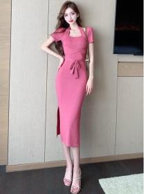Grace Women Tie High Waist Split Long Dress