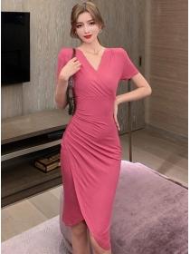 Elegant Fashion High Waist V-neck Pleated Women Dress