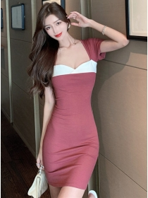 Korea Stylish Color Block Backless Short Sleeve Dress
