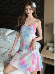 Lovely Wholesale Rainbow Printings Straps A-line Dress