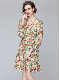 Wholesale Europe Tie Waist V-neck Fishtail Women Dress