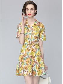 Pretty Summer Shirt Collar Flowers Short Sleeve Dress