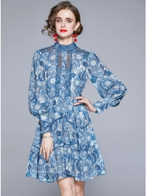 Europe Retro Puff Sleeve Hollow Out Flowers A-line Dress