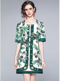 Wholesale Retro Square Collar Rhinestones Flowers A-line Dress