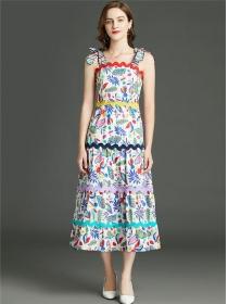 Pretty Fashion High Waist Flowers Tie Straps Long Dress