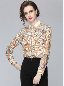Wholesale Europe Flowers Shirt Collar Loosen Blouse
