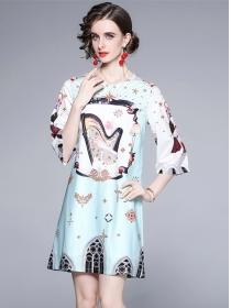 Wholesale Europe Round Neck Printings Loosen Women Dress