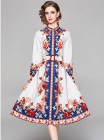 Vogue Lady Belt Waist Flowers Puff Sleeve Loosen Dress