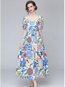 Charming Wholesale High Waist Flowers Puff Sleeve Long Dress
