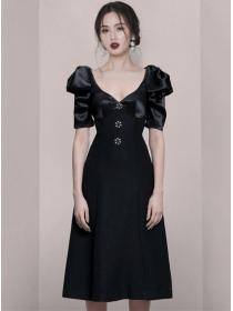 Modern Lady Rhinestones High Waist Puff Sleeve A-line Dress