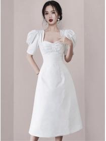 Grace Women Pleated Collar High Waist Puff Sleeve Dress