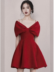 Korea Stylish 3 Colors Bowknot Boat Neck A-line Dress