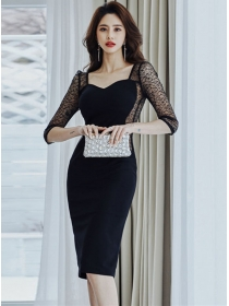 Wholesale Sexy Lace Transparent Splicing Skinny Dress