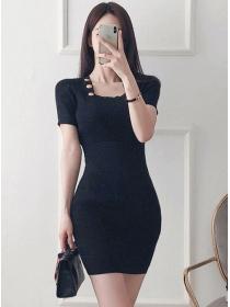 Wholesale Korea 2 Colors Buttons Square Collar Knit Dress