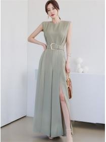 Brand Fashion High Waist Split Wide-leg Long Jumpsuit