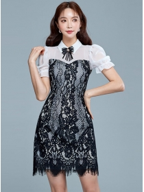 Pretty Women Bowknot Collar Lace Short Sleeve Dress