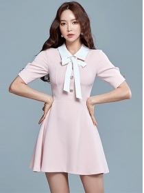 Korea OL Bowknot Doll Collar Short Sleeve A-line Dress