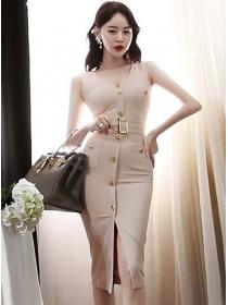 Modern Lady Single-breasted V-neck Skinny Tank Dress