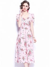 Europe Charming High Waist Flowers Women Long Dress