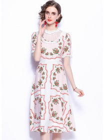 Lovely Wholesale High Waist Flowers Short Sleeve Dress