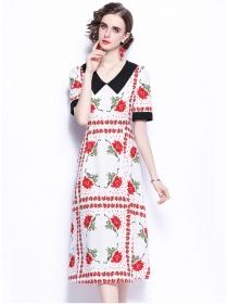 Preppy Fashion Doll Collar High Waist Flowers Long Dress