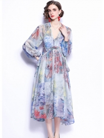Retro Fashion Tie Waist V-neck Flowers Loosen Maxi Dress
