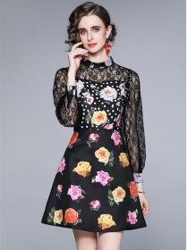Europe Fashion Lace Sleeve Splicing Flowers Women Dress