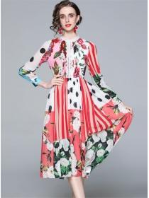 Pretty Europe Lace High Waist Stripes Flowers A-line Dress