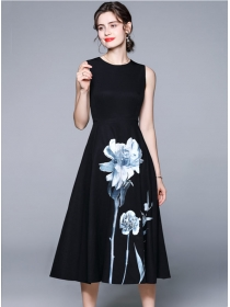 Retro Wholesale High Waist Flowers Tank A-line Dress