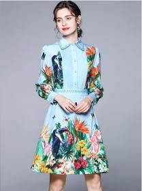 Charm Europe Doll Collar High Waist Flowers A-line Dress