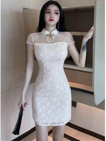 Retro Korea Beads Gauze Shoulder Slim Cheongsam Dress