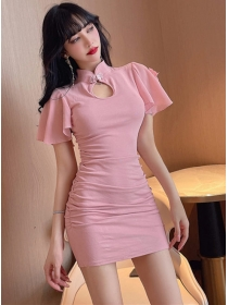 Wholesale 2 Colors Chiffon Sleeve Pleated Cotton Dress