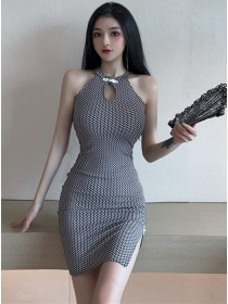 Sexy Wholesale Off Shoulder Plaids Skinny Cheongsam Dress