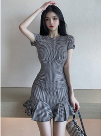 Preppy Fashion Round Neck Plaids Skinny Fishtail Dress